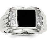 Sterling Silver Onyx & Cubic Zirconia Band