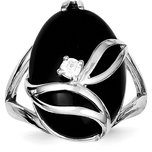 Sterling Silver Onyx & Cubic Zirconia Ring