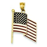 14K Gold Enameled Flag Pendant