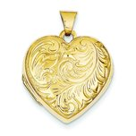14K Gold Domed Scroll Heart Locket