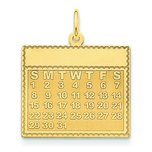 14K Gold Sunday the First Day Calendar Pendant