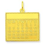 14K Gold Tuesday the First Day Calendar Pendant