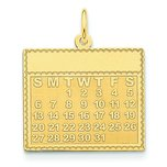14K Gold Wednesday the First Day Calendar Pendant