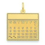 14K Gold Saturday the First Day Calendar Pendant