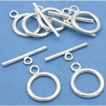 Toggle Clasps Silver Plated 15.5mm 6Pcs Approx.