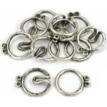 Round Hook & Eye Double Strand Clasp Antique Silver Plated 21mm 6Pcs Approx.
