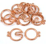 Round Hook & Eye Double Strand Clasp Copper Plated 21mm 6Pcs Approx.