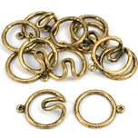 Round Hook & Eye Clasp Antique Gold Plated 21mm 6Pcs Approx.