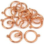 Round Hook & Eye Clasp Copper Plated 21mm 6Pcs Approx.