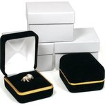 Black Velvet Ring Jewelry Gift Boxes with Brass Rim Showcase Display Kit