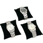 3 Black Velvet Watch & Bracelet Pillow Jewelry Displays
