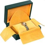 "Watch Gift Box Green Faux Leather 5 3/4"" (Only 1 Box)"