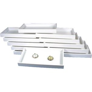 12 Jewelry White Plastic Showcase Display Travel Tray