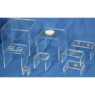 8 Layer Clear Acrylic Risers Showcase Display Stands
