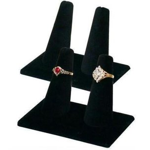 2 Displays Double Ring Black Velvet Jewelry Showcase