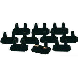 10 Black Velvet Finger Display Wedding Band Ring Holder