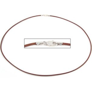 Leather Cord Necklace Brown 18""