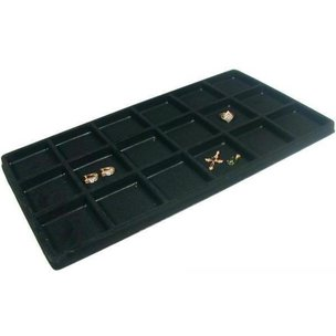 18 Compartment Display Tray Inserts Flocked 14 1/8""