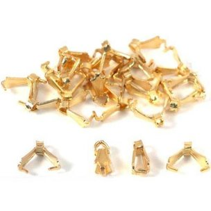 24 Bails Gold Plated Connectors Jewelry Necklace Chain  8 x 3mm