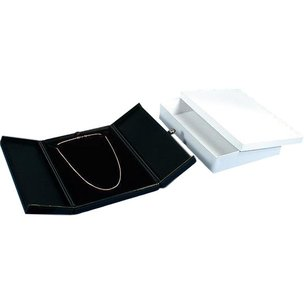 "Necklace Snap Lid Gift Box Black 5 5/8""  (Only 1 Box)"
