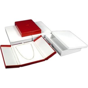 3 Large Necklace Boxes Red Leather Showcase Display