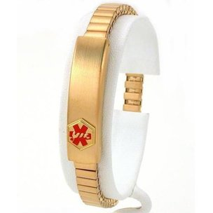Medical ID Information Bracelet Gold Plated 7""