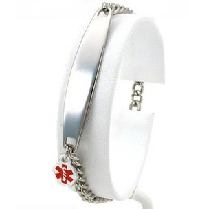 Stainless Steel Link Style Medical Alert ID Bracelet