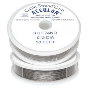 "Acculon Beading Wire 3 Strand Fine .012"" 30ft"