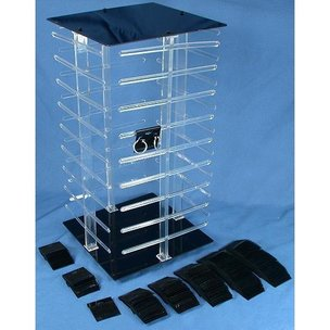 100 Black Earring Cards Revolving Display 4 Sided Stand