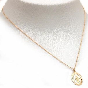 "St. Jude Thaddeus Charm 20mm & 18"" Chain 14k Gold"