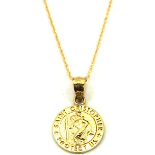 "St. Christopher Charm 12mm & 18"" Chain 14k Gold"