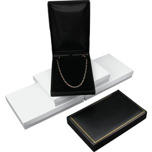 3 Necklace Boxes Black Leather Jewelry Gift Display Box