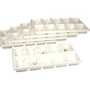 "10 Compartment Display Tray Inserts Plastic 14 1/8"" 5Pcs"