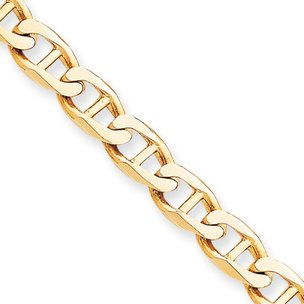 10K Yellow Gold Anchor Chain Bracelet Jewelry 8""