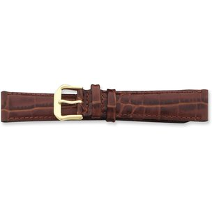 de Beer Brown Crocodile Grain Leather Watch Band (10 to 20mm)
