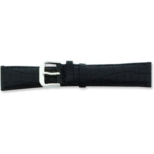 de Beer Black Crocodile Grain Leather Watch Band (10 to 20mm)