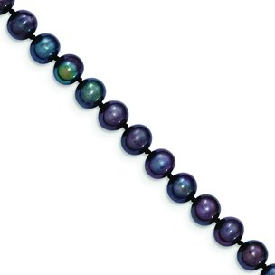 14K Gold 6mm Black Cultured Round Pearl Strand