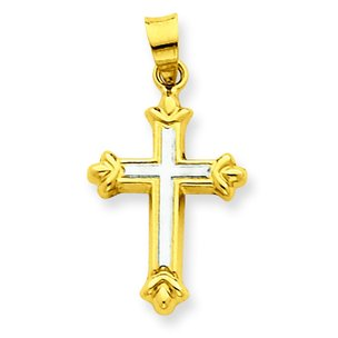 14K Two Tone Gold Cross Charm