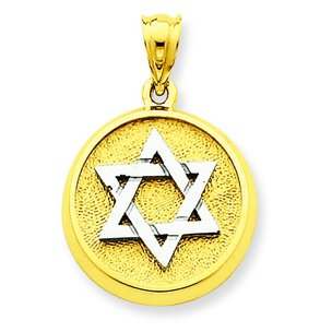 14K Two Tone Gold Star of David Charm