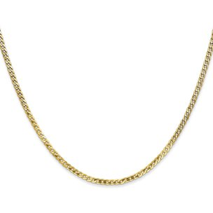14K Gold 2.2mm Beveled Curb Chain