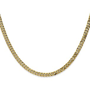 14K Gold 4.2mm Beveled Curb Chain
