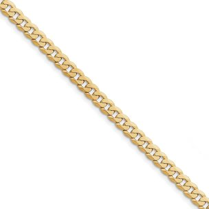 14K Gold 6.1mm Beveled Curb Chain