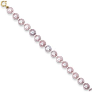 14K Gold Simulated Pink Pearl Children's Bracelet 5.25""