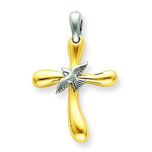14K Two Tone Gold Cross Dove Pendant