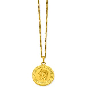 Gold Plated Saint Christopher Charm 24""