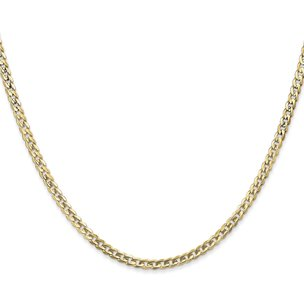 14K Gold 3mm Open Concave Curb Chain