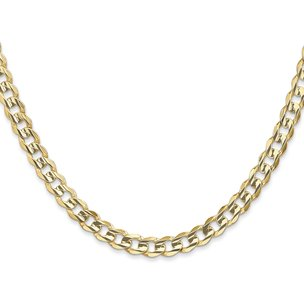 14K Gold 5.25mm Open Concave Curb Chain
