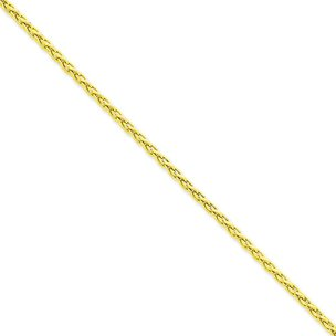14K Gold 3mm Round Wheat Chain