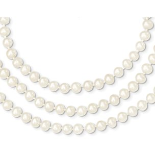 14K Gold 6mm White Cultured Round Pearl Strand 18""
