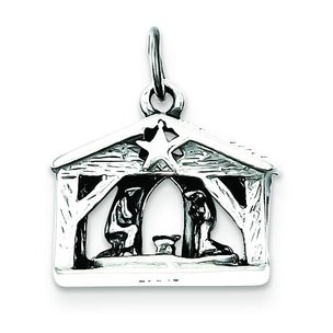 "Sterling Silver Antiqued Manger Charm & 18"" Chain"